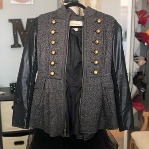 HOT leather and wool jacket, XS.